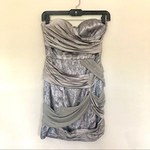 bebe Dresses - Bebe Grey Strapless Wrapped Mixed Lace Dress XS